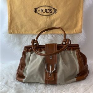 Tods tan canvas linen and leather satchel